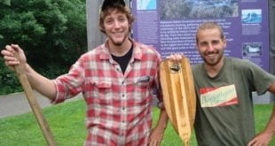 Sam and Andy upon completion of their 39-day thru-paddle of the Northern Forest Canoe Trail