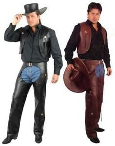 Cowboy Chaps are leggings without a seat or crotch, designed to be worn over pants when riding in thick brush