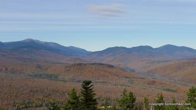 Mt Washington, Pinkham Notch and Carter Notch seen from the north side of Iron Mountain outside of Jackson, NH