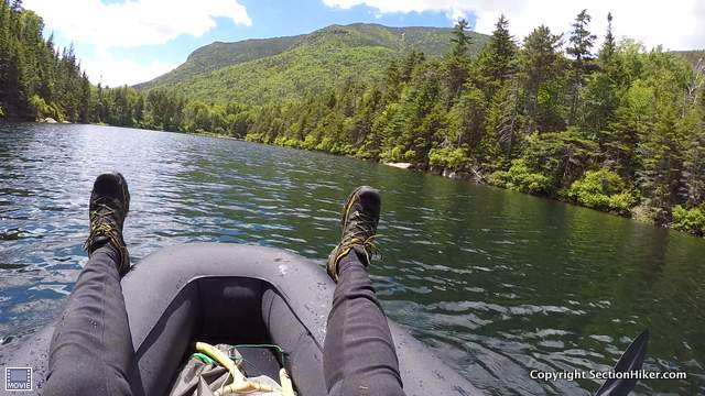 Packrafting on Upper Greeley Pond, Mad River Notch
