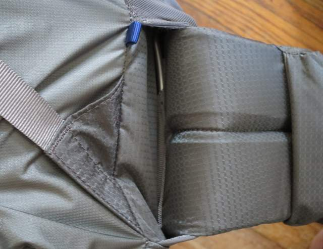 2016 Mariposa Hip Belt showing how frame slots into hip belt and adjacent plastic stiffeners (hidden by hip belt fabric)