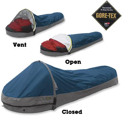 The Outdoor Research Alpine Bivy 'Shelter' incorporates a hooped pole that increases interior space and livability.