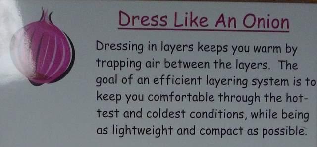 Dress Like and Onion - Pinkham Lodge Ready Room