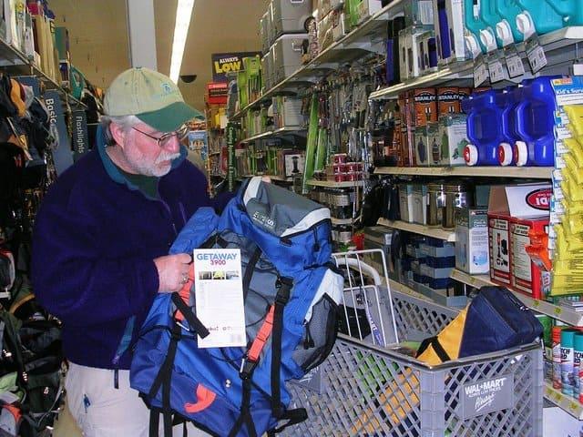 Kish looking at gear in big box store