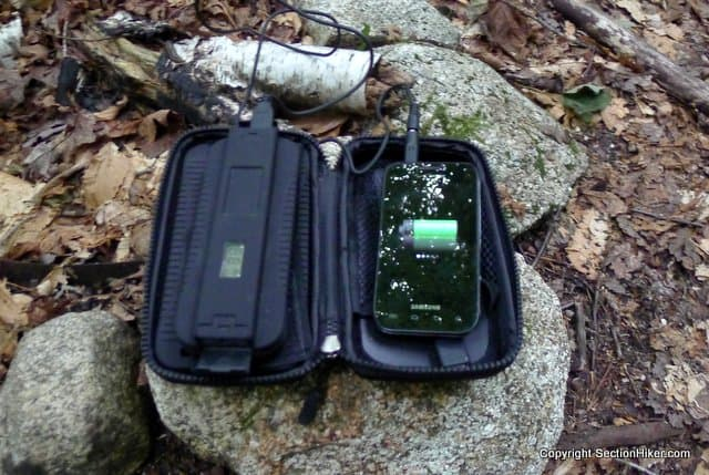 Powermonkey Extreme charging an Android Phone in camp