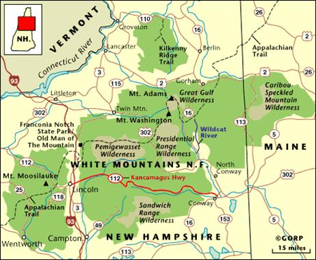 Map of the White Mountains