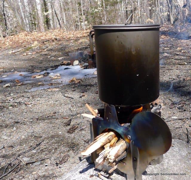 QiWiz Firely UL Titanium Collapsible Wood Stove with an Titanium Pot