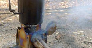 Esbit 750 ml Titanium Pot on a UL wood stove