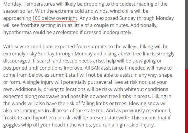 Mt Washington Forecast on President's Day