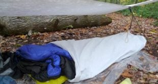 Rectangular Tarp pitched with a fallen tree as a back wall