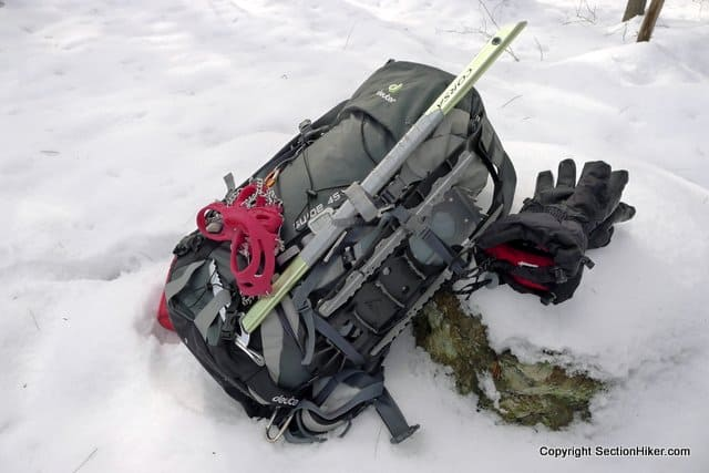 Side compression straps can be used to attach snowshoes. Pack shown: Deuter Guide 45+