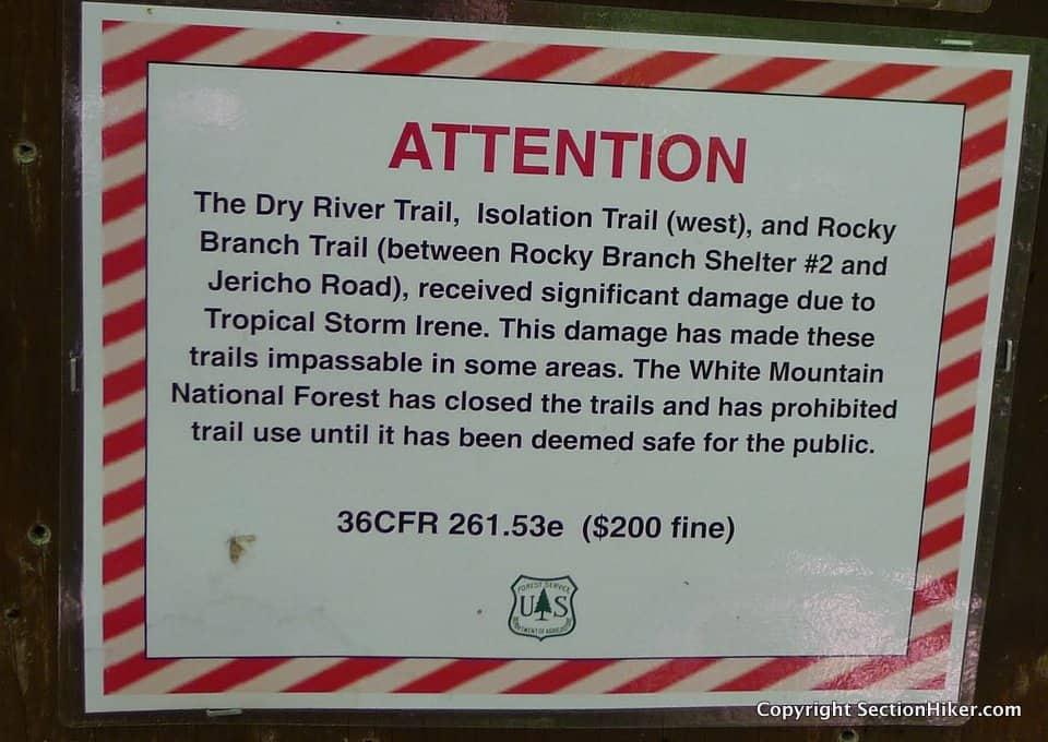 Notice of Hurricane Irene Damage and Trail Closures.