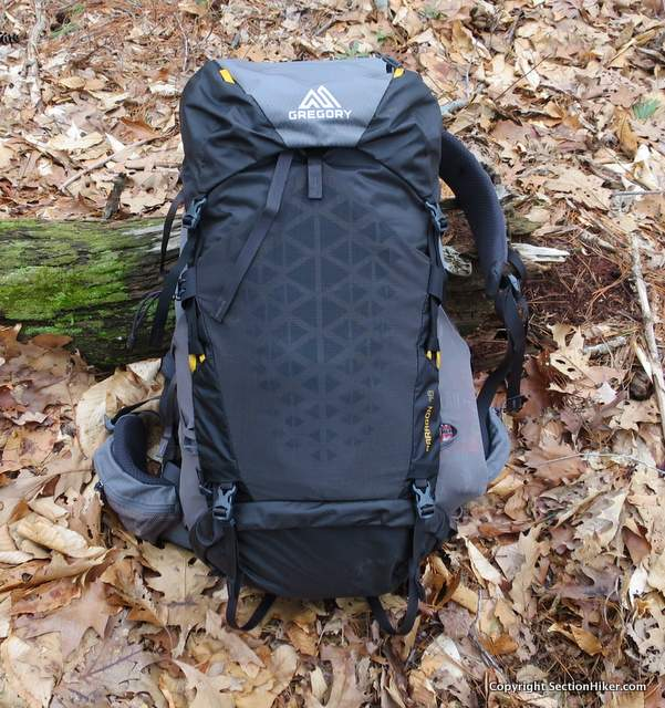The Gregory Packs Paragon 48 is an alpine style backpack with a floating top lid and rear mesh pocket.