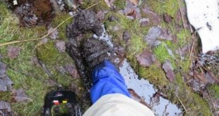 April 22, 2017 - Spring backpacking trip where I chose to wear insulated boots and gaiters