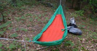 The self-inflating Slacker Hammock Sleeping Pad will work with any gathered end hammock. Shown here with a Hummingbird Hammocks Single