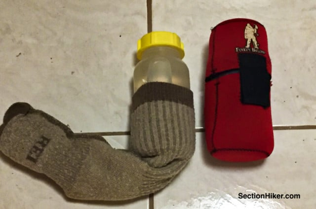 You can save money buy insulating water bottles with a wool sock instead of an expensive neoprene bottle parka.