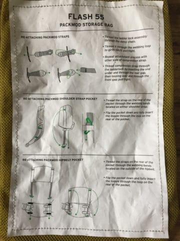 The Packmod strap attachment directions are printed on the outside of the storage sack