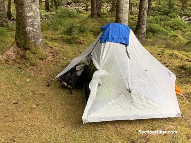 Tent vestibule for gear storage.