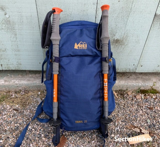 The Trail 25 has special hardware for carrying trekking poles