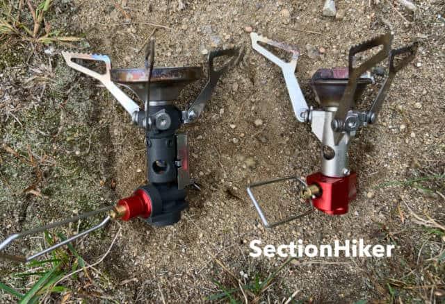 The burner head on the Pocket Rocker2 (right) is much smaller than the burner head on the PR Deluxe (left)