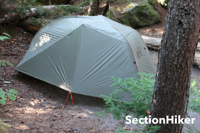 The rear wall of the Quarter Dome SL 1 can also be staked out for added ventilation. While this creates a space that's large enough to store gear in, it is not accessible from within the inner tent.