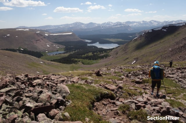 Descending one of many high passes; a typical scene on the Uinta Highline trail