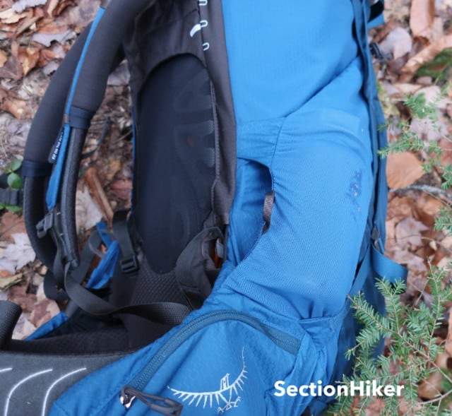 Side water bottle pockets have front openings for ease of access