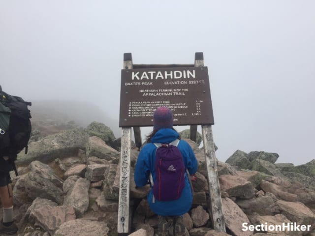 Humbled and in awe at the northern terminus of the AT at Katahdin