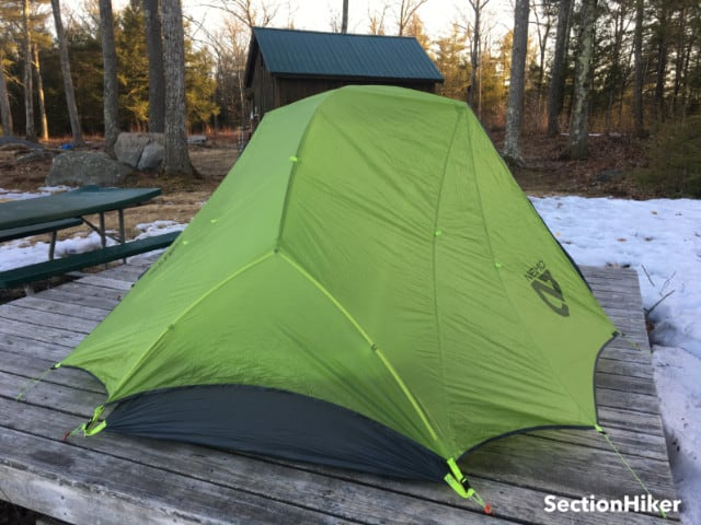 The Dragonfly 2 is considered a Semi-Freestanding tent because the fly must be partially staked out to anchor the vestibules.