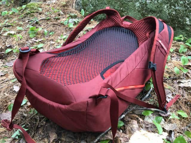 The Arrio is a ventilated backpack with a suspended mesh back to help your shirt stay drier in hot weather.