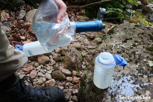 Filtering water is easy. You just squeeze the soft bottle and direct the output to a different container or directly into your mouth.