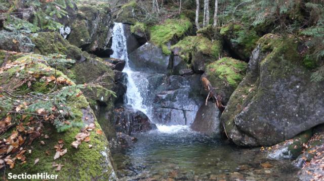Waterfall at the base of the Watson Path climb.