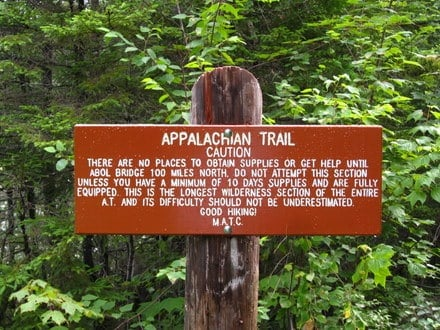 100 mile wilderness sign - Maine Appalachian Trail